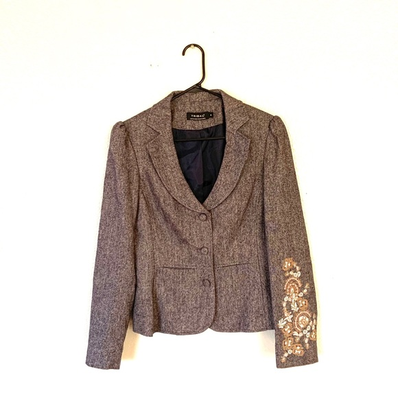 Tribal Jackets & Blazers - TRIBAL Wool Blend Embroidered Blazer Gray 6